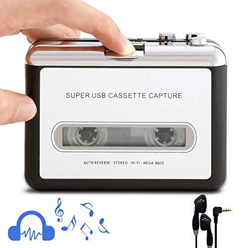 Retround Cassette Player Portable Walkman Cassette Tape Player Tape Converter to MP3/WAV/CD via USB, with Earphones Compatible with Laptops/PC (Best Cassette To Cd Converter)