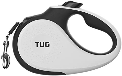 TUG 360° Tangle-Free, Heavy Duty Retractable Dog Leash with Anti-Slip Handle; 16 ft Strong Nylon Tape/Ribbon; One-Handed Brake, Pause, Lock