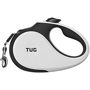 TUG Patented 360° Tangle-Free, Heavy Duty Retractable Dog Leash For Up To 55 lb Dogs; 16 ft Strong Nylon Tape/Ribbon; One-Handed Brake, Pause, & Lock