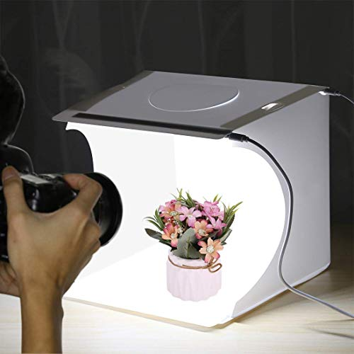 PULUZ Mini Photo Studio Light Box, Photo Shooting Tent kit, Portable Folding Photography Light Tent kit with 2 LED Panels and 6 Colors Backdrops, for Small Size Products