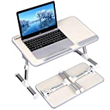 Gladle Laptop Bed Table, Portable Height and Angle Adjustable Lap Standing Desk for Bed and Sofa, Foldable Computer Desk Notebook Tray Breakfast Bed Tray for Couch Floor Kids, Wood