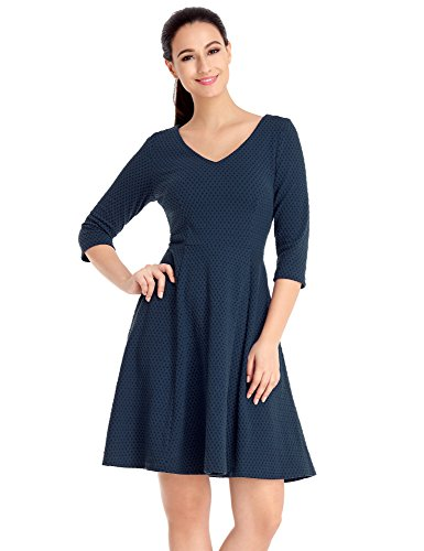 Lookbook Store LookbookStore Women's Navy Casual V Neck Half Sleeves Short A Line Skater Dress Size S