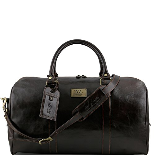 Tuscany Leather TL Voyager Travel leather duffle bag with pocket on the backside - Large size Dark Brown by Tuscany Leather