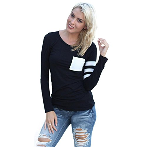 TOPUNDER Womens Long Sleeve Round Neck Splice Shirt Blouse Tops T Shirt (XL, Black)