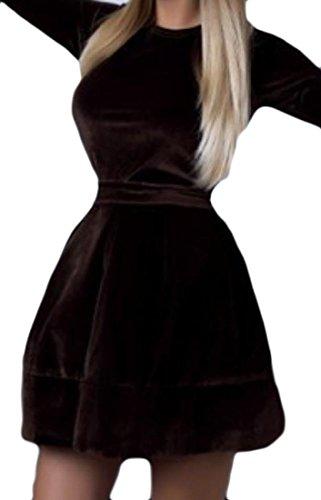 Velvet 3 Brown Straps Coolred Dress Cocktail Gold Round Neck Women Sleeve 4 qHn8FBgn