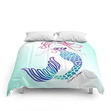 "Society6 Tribal Mermaid With Ombre Turquoise Background Comforters Queen: 88"" x 88"""