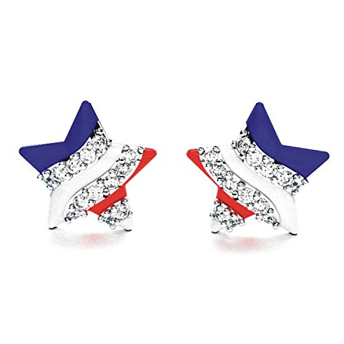 - Solid Sterling Silver Created White Sapphire American Flag Patriotic Earrings with Enamel for Women