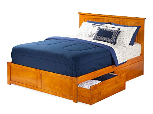 Nantucket Bed with Flat Panel Foot Board and 2 Urban Bed Drawers, Queen, Caramel Latte
