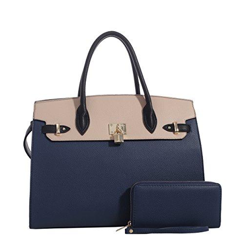 (DELUXITY Women's Designer Top Handle Satchel Handbag Tote Bag Briefcase 2pc set | Navy/Beige)