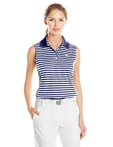 - Puma Golf Women's Stripe Sleeveless Polo, Medieval Blue/White, X-Small