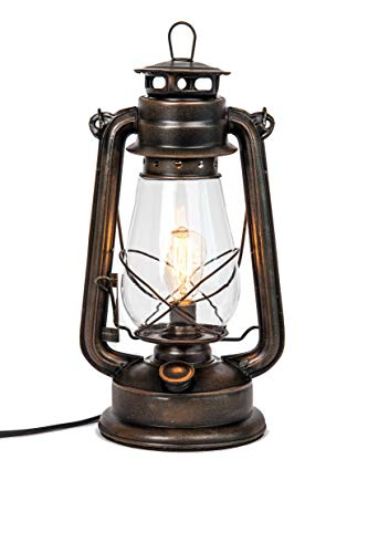 Dimmable Electric Lantern lamp with Edison Bulb Included Rustic Rust ()