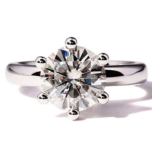TransGems 3 Carat Moissanite Lab Diamond Ring Genuine Diamond Accents in 14K White Gold for Women (F Color) ()