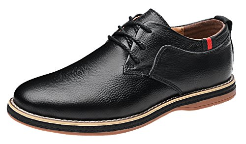 MOHEM Darren Men's Premium Genuine Leather Lace-up Oxfords Shoes(1687008Black48)