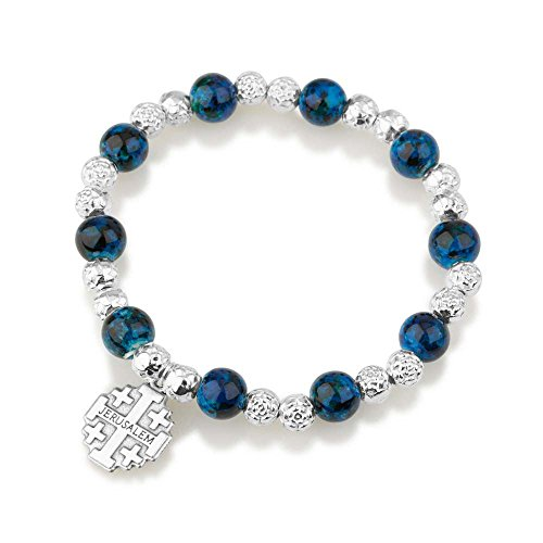 Marina Jewellery Silver Plate Faceted and Hand Painted Blue Glass Bead Rosary Bracelet with Jerusalem Cross Pendant