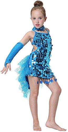[Seawhisper Kid's Sequins Latin Dance Dress School Show Set Halloween Costumes] (Et Halloween Costume)