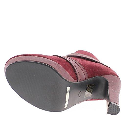 Bottines basses femme rouges à talons de 11,5cm et plateau de 2,5cm