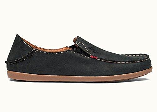 OLUKAI Women's Nohea Nubuck Slip On Shoes, Black/Tan, 6.5 M US