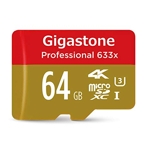 Gigastone 64GB MicroSD Card UHS-I U3 Class 10 SDXC Memory Card with SD adapter High Speed 4K Ultra HD Video Android Camera Canon Dashcam DJI Drone GoPro Nikon Nintendo Samsung Tablet