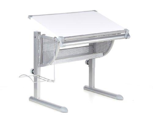 HJH Office 705100 Kinderschreibtisch Belia höhenverstellbar mit neigbar weiss / silber