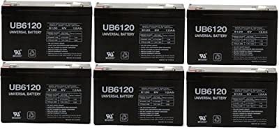 "6V 12Ah F1 UPS Battery for Lithonia ELB-0609 IF 5 1/2"" - 6 Pack"