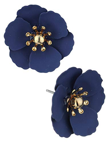 Women's Metal Matte Flower Petal Stud Pierced Earrings, Navy