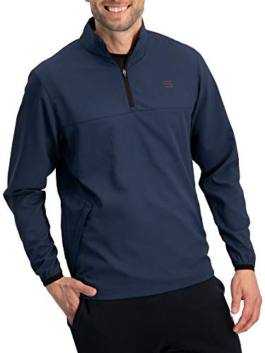 - Mens Windbreaker Jackets - Half Zip Golf Pullover Wind Jacket - Vented, Dry Fit Deep Sea Blue