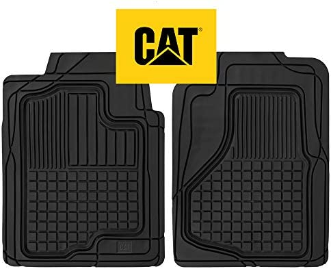 Caterpillar CAT Large Heavy Duty Odorless Rubber Floor Mats, Total Protection Durable Trim to Fit Liners for Car Truck SUV & Van, All Weather, Black (CAMT-150-BK)