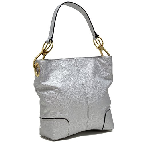 Hobo MKP Shoulder Tote Patched Corner 3108 Classic Silver Handbag~Fashion Bag~Beautiful Single Collection qr4q7BnH