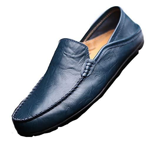 Genuino Azul con 40 Mocasines Azul EU Punta angostos Hombres Zapatos de tamaño Redonda Color Qiusa Cuero Marino para Casuales SInZpUgwqz