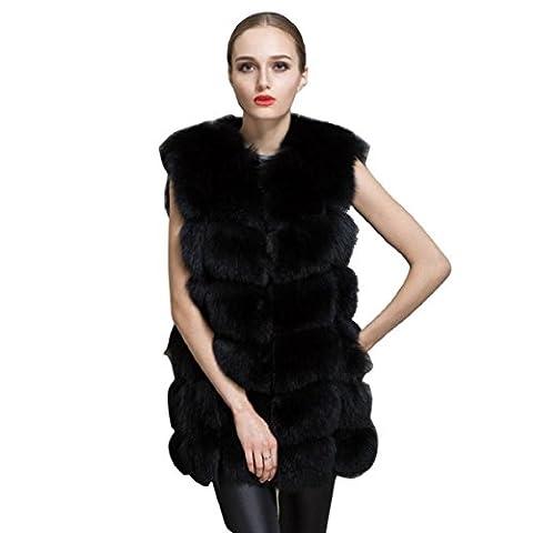 Mchoice Women Warm Slim Vest Faux Fox Fur Waistcoat Jacket Coat (S, Black)