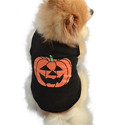 Puppy Clothes,Neartime Halloween Festivals Pumpkin Pet Outfit Black Vest Doggie T-shirt (S) (Pet Outfit)