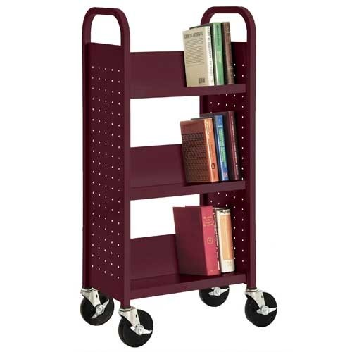 Single Sided Book Cart (Sandusky Lee SL33017-03 Single Sided Sloped Shelf Book Truck, 14