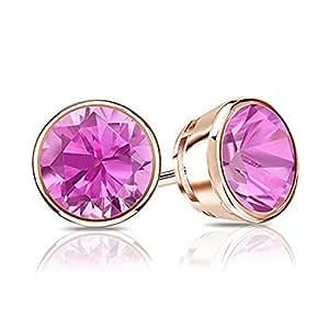 VBJewels Women's 14K Gold Toned Bezel Round Cut Pink Sapphire Stud Earrings 0.75 Ct Tw Rose