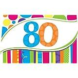 Creative Converting Bright and Bold 8 Count 80th Birthday Invitations