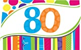 8-Count Birthday Invitations, 80th Bright and Bold