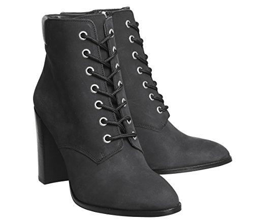 Nubuck Black Attitude Office Boots Block Up Heel Lace 7nwqav