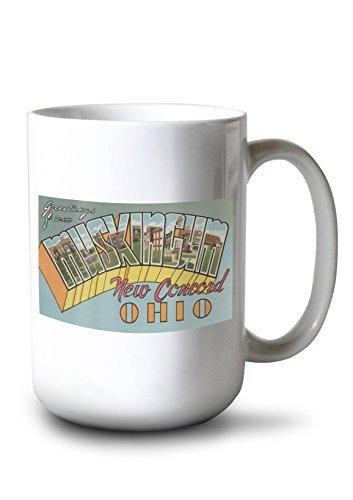 New Concord, Ohio - Muskingum County - Large Letter Scenes (15oz White Ceramic Mug)