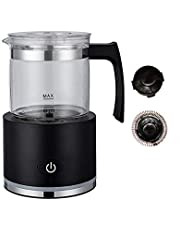 Milk Frother, Automatic Detachable, Electric Milk Steamer Foam Maker with Glass Jug for any kind of coffee, automatic milk frother and heater cold milk function (Black)