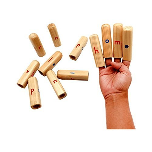 Skola Toys Alphabet Finger Puppets - Play and Learn by Forming Words on your Fingers with these Wooden Puppets - Educational Toy for 4 to 7 Year Old