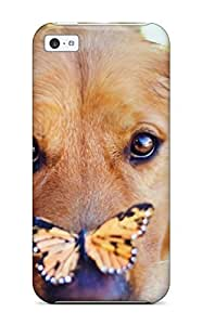 Unique Design Iphone 5c Durable Tpu Case Cover Dog With Butterfly On Nose Sending Screen Protector in Free