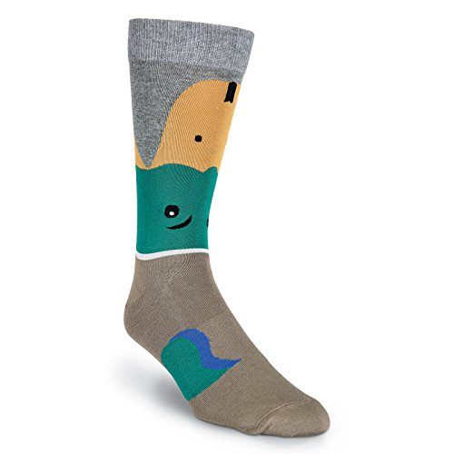 K. Bell Socks Men's Leg Eating Animal Novelty Crew Socks, Mallard (Brown), Shoe Size: 6-12