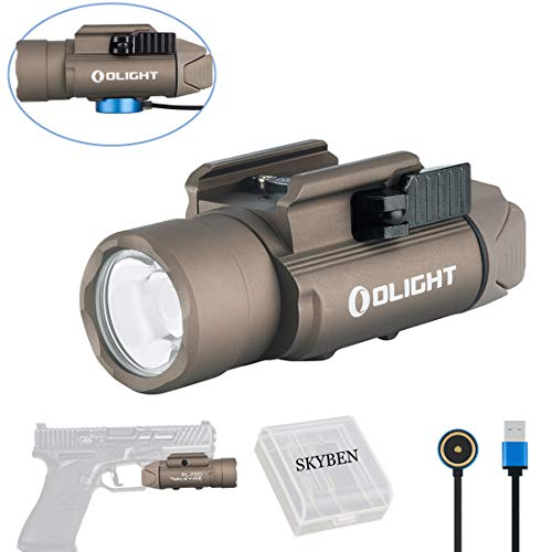 - Olight PL-PRO Valkyrie 1500 Lumens Cree XHP 35 HI NW LED Magnetic Rechargeable Weaponlight with Glock and 1913 Rail Adapter, Built-in Battery and SKYBEN Battery Case (Desert Tan)
