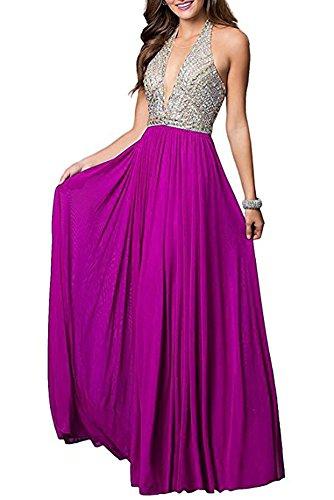 Fuchsia Chiffon Zipper (Firose Women's Scoop Neckline Beaded Long Chiffon Prom Dresses For 2018 Fuchsia/Style B US10)