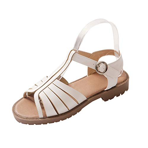 - GHrcvdhw Hollow-Out Low-Heeled Sandals Summer New Casual Stylish Peep Toe Buckle Strap Women Sandals Shoes White