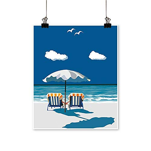 Single paintingon Deck Chairs Beach Holding Hands Umbrella Romance Sea Vacation Blue White Light Office Decorations,12