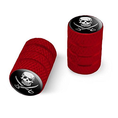 海賊の頭蓋骨交差刀の入れ墨のデザインオートバイ自転車バイクタイヤリムホイールアルミバルブステムキャップ - 赤