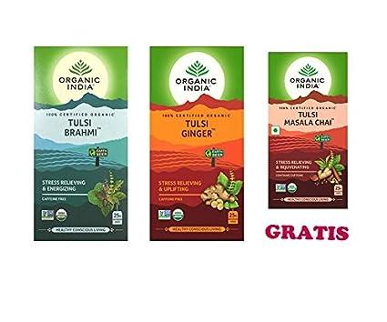 ENVÍO GRATIS* Pack de 2+1 GRATIS: Organic India Infusión Té Tulsi Brahmi, Tulsi Ginger (Jengibre) & Tulsi Masala Chai ((Cada paquete con 25 bolsas)