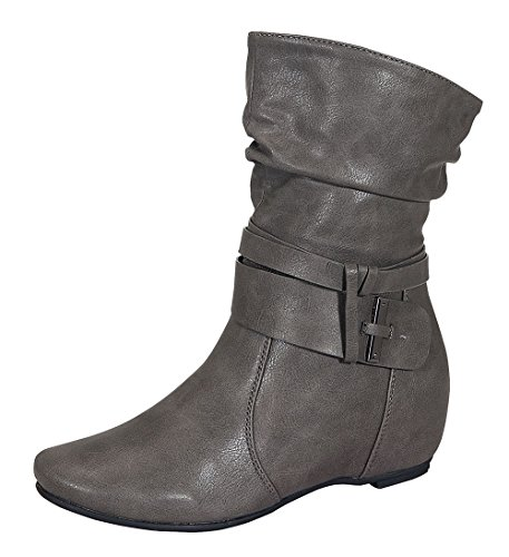 Amar-74 Women's Calf Flat Heel Side Zipper Slouch Ankle Boots with Glam Twist