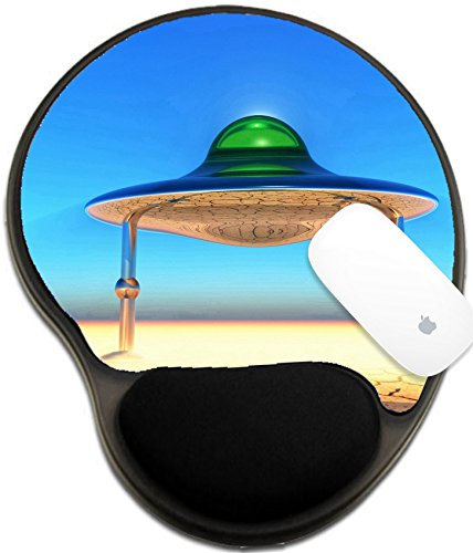 Luxlady Mousepad wrist protected Mouse Pads/Mat with wrist support design IMAGE ID: 44624762 flying saucer landing in the desert