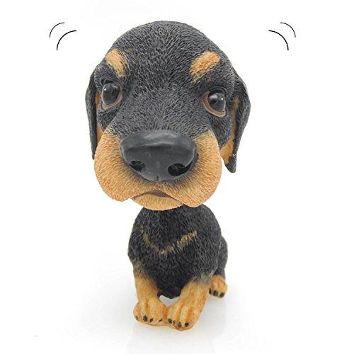 Velener Nodding Dog Ornaments Mini Bobble-Head Toys for Car Decoration (Black and Tan Coonhound)